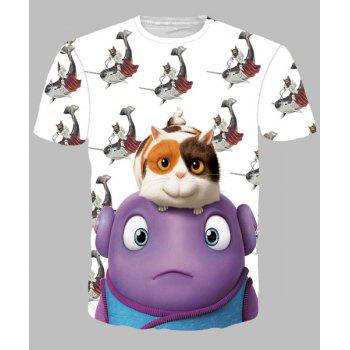 Round Neck Funny Cartoon Animal Print Short Sleeves Men's 3D T-Shirt - COLORMIX COLORMIX