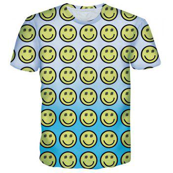 Cartoon Smile Emoticon Print Round Neck Short Sleeves Men's T-Shirt - COLORMIX COLORMIX
