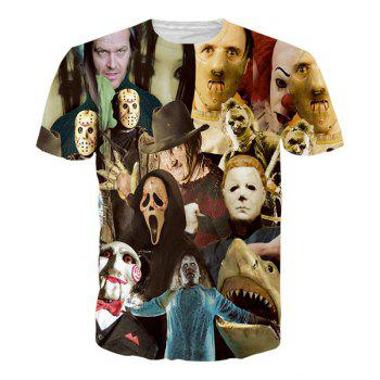Hot Sale Round Neck 3D Mask People Short Sleeves Men's T-Shirt - COLORMIX L