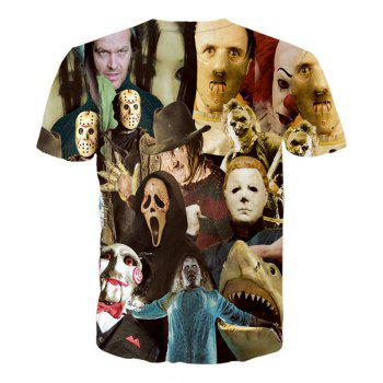 Hot Sale Round Neck 3D Mask People Short Sleeves Men's T-Shirt - L L