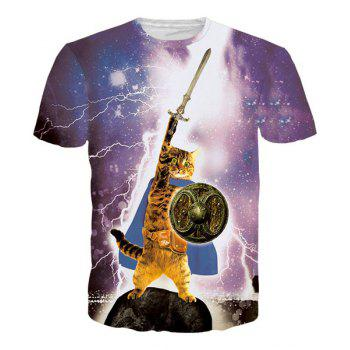 Vogue Mars Cat Print Round Neck Short Sleeves Men's 3D T-Shirt - COLORMIX COLORMIX