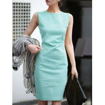 Trendy Sleeveless Candy Color Jewel Neck Dress For Women