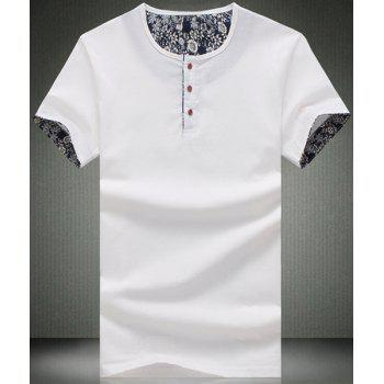 Modish Round Neck Button Embellished Short Sleeve Men's T-Shirt