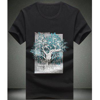 Round Neck Letters Print Tree Pattern Short Sleeve Men's T-Shirt - BLACK BLACK