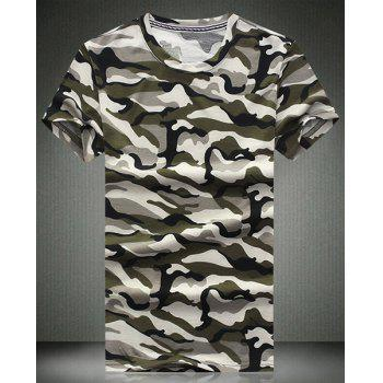 Round Neck Camouflage Printed Short Sleeve Men's T-Shirt - GRAY GRAY