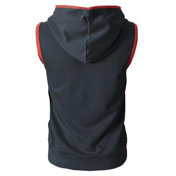 Hooded Color Block Splicing Stereo Pocket Sleeveless Men's Waistcoat - DEEP GRAY 2XL