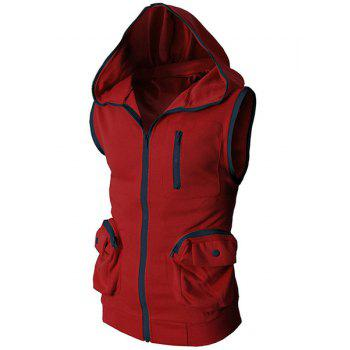 Hooded Color Block Spliced Stereo Pocket Sleeveless Men's Waistcoat - RED M