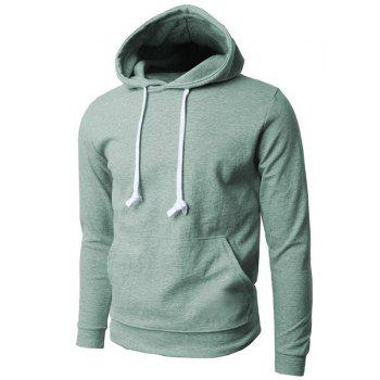 Hooded Pure Color Front Pocket Long Sleeve Men's Hoodie