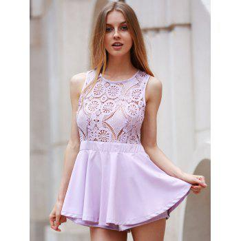 Cute Sleeveless Cut Out Lace Design Flounced Romper For Women