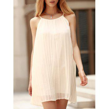 Spaghetti Strap Sleeveless Pleated Dress