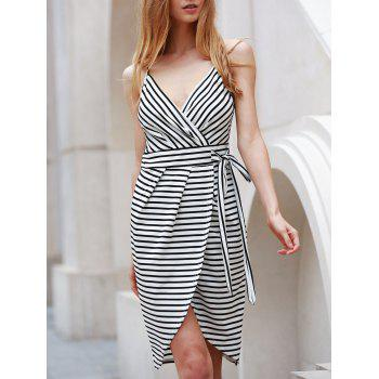 Spaghetti Strap Sleeveless Striped Self Tie Dovetail Dress