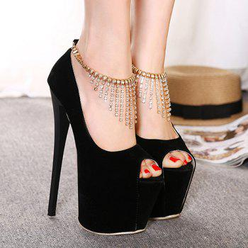 Sexy Super High Heel and Platform Design Women's Peep Toe Shoes - BLACK BLACK