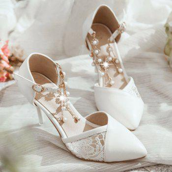 Stylish Embroidery and Faux Pearls Design Women's Pumps - 39 39