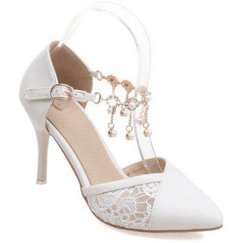 Stylish Embroidery and Faux Pearls Design Women's Pumps - WHITE 39