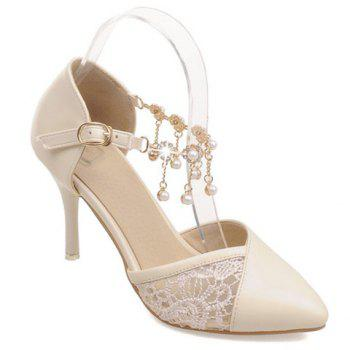 Stylish Embroidery and Faux Pearls Design Women's Pumps