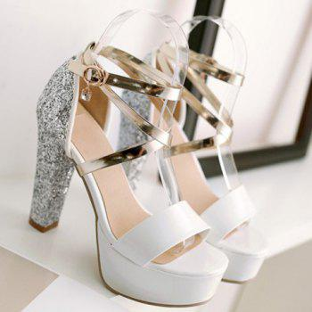 Stylish Sequins and Buckle Design Sandals For Women - SILVER 38
