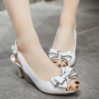 Graceful Patent Leather and Bowknot Design Women's Sandals - WHITE 38