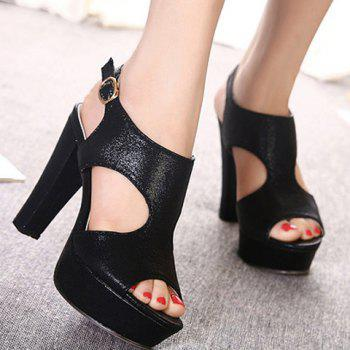 Sweet Chunky Heel and Buckle Strap Design Sandals For Women - BLACK 34