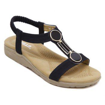 Casual Elastic Band and PU Leather Design Sandals For Women