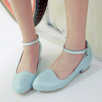 Trendy Rhinestone and Ankle Strap Design Women's Flat Shoes - 36 36