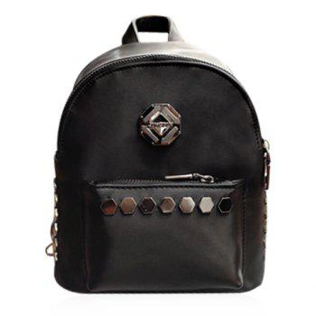 Fashionable Solid Colour and Metal Design Women's Backpack