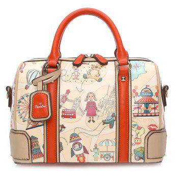 Ladylike Multicolor and Cartoon Pattern Design Tote Bag For Women