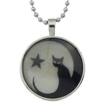 Pentagram Kitten Pendant Necklace
