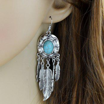 Pair of Feather Tassel Faux Turquoise Earrings - SILVER