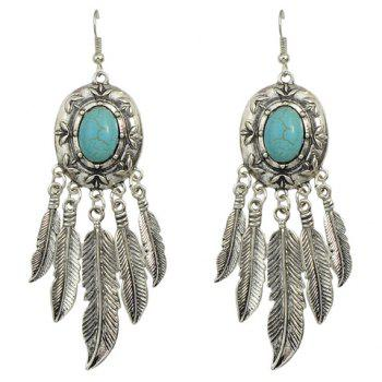 Pair of Feather Tassel Faux Turquoise Earrings