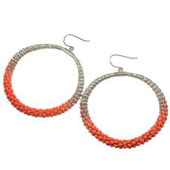 Pair of Hollow Out Round Earrings - ORANGE