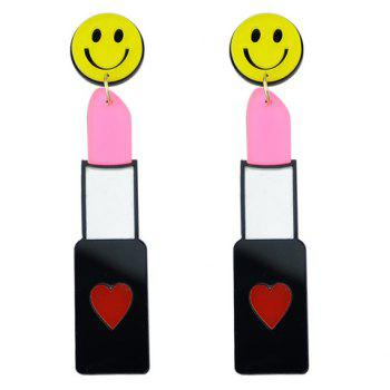 Pair of Smile Face Lipstick Shape Earrings
