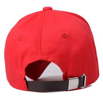 Fashionable Adjustable Retro Letter Embroidery Baseball Cap For Women - RED