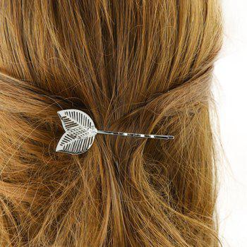 Trendy Hollow Out Leaf Hairpin For Women - SILVER SILVER