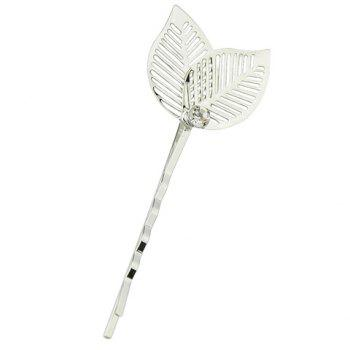 Trendy Hollow Out Leaf Hairpin For Women - SILVER