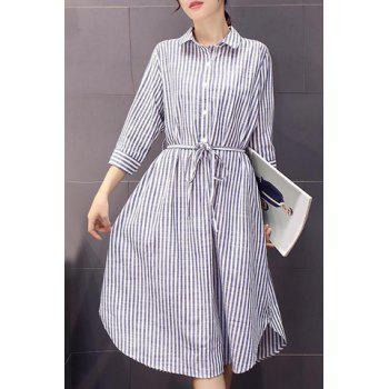 Stylish Shirt Collar 3/4 Sleeves Stripe Print Women's Dress