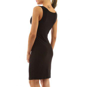 Alluring Style V Neck Sleeveless Solid Color Sheathy Women's Dress - BLACK M