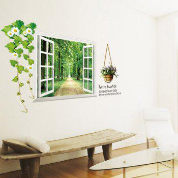 High Quality Tree-Lined Trail Pattern Window Shape Removeable 3D Wall Sticker - GREEN