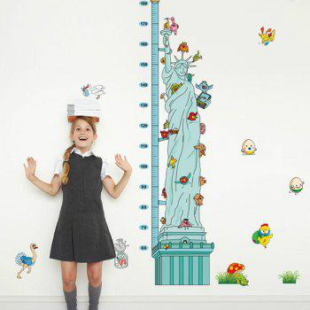 Chic Cartoon Statue of Liberty Height Ruler Pattern Removeable Wall Sticker - COLORMIX