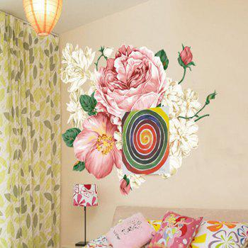 Chic Flowers Pattern Removeable Wall Sticker - COLORMIX