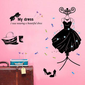 High Quality Solid Color Dress Pattern Removeable Wall Stickers - BLACK