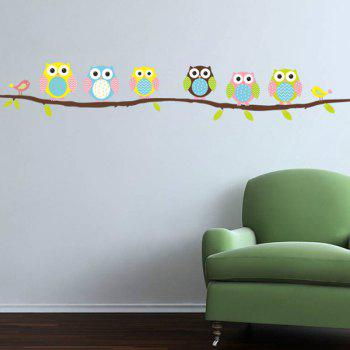 Chic Cartoon Owl Birdie Pattern Removeable Wall Sticker - COLORMIX