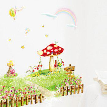 Chic Cartoon Rural Flowers Grass Pattern Removeable Wall Sticker - COLORMIX
