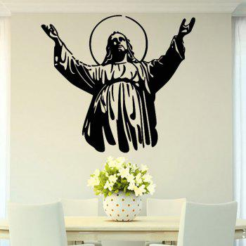 Chic Christianity Jesus Pattern Removeable Wall Sticker - BLACK