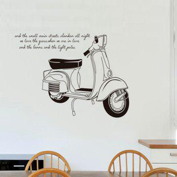 Chic Motorcycle Letters Pattern Removeable Wall Sticker - BLACK