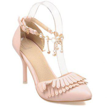 Fashionable Fringe and Two-Piece Design Women's Pumps - PINK 39