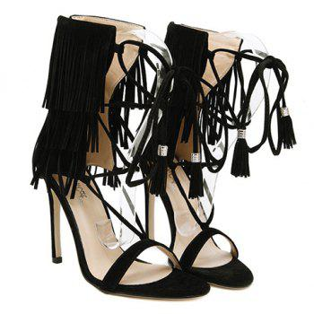 Sexy Lace-Up and Fringe Design Women's Sandals