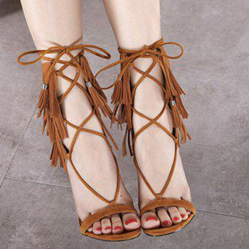 Sexy Lace-Up and Fringe Design Women's Sandals - BROWN 36