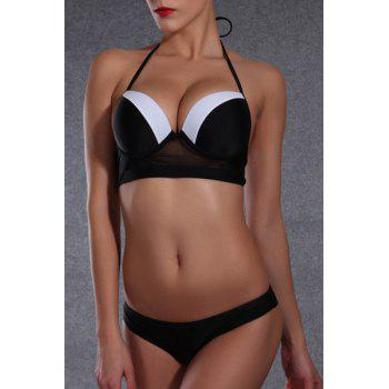 Sexy Halter Color Block Push Up Underwire Women's Bikini Set