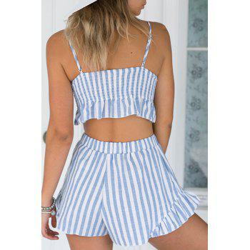 Stylish Cami Striped Crop Top and Wide Leg Shorts Women's Suit - LIGHT BLUE M
