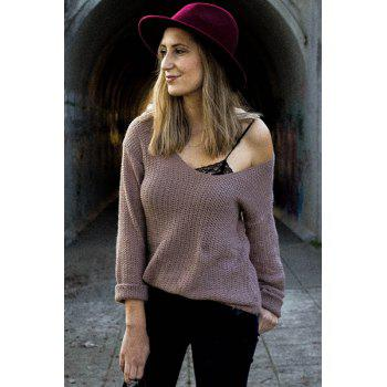 Casual V-Neck Solid Color Long Sleeves Women's Pullover Sweater - PALE PINKISH GREY L